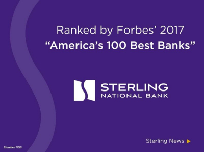 Image saying that Sterling National Bank ranked 36th on Forbes' 2017 list of America's 100 Best Banks